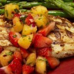 Grilled Chicken with Strawberry-Pineapple Salsa.