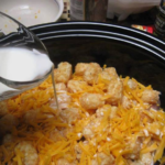 Cheesy Chicken Tater Tot Casserole in the Crockpot