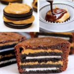 Brownie cupcakes with peanut butter Oreo centers!
